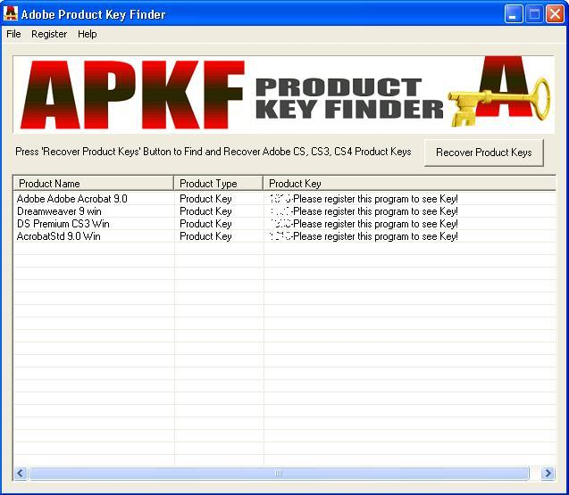 Click to view APKF Product Key Finder 2.3.5 screenshot