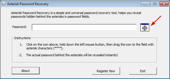 Click to view Asterisk Password Recovery 2.1 screenshot