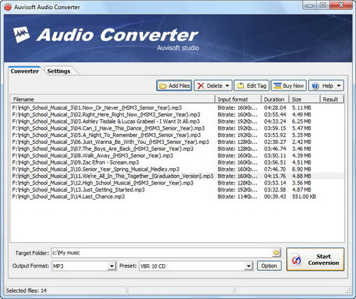 Click to view Auvisoft Audio Converter 2.9 screenshot