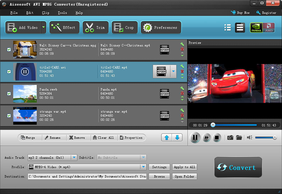 Click to view Aiseesoft AVI MPEG Converter 6.2.16 screenshot