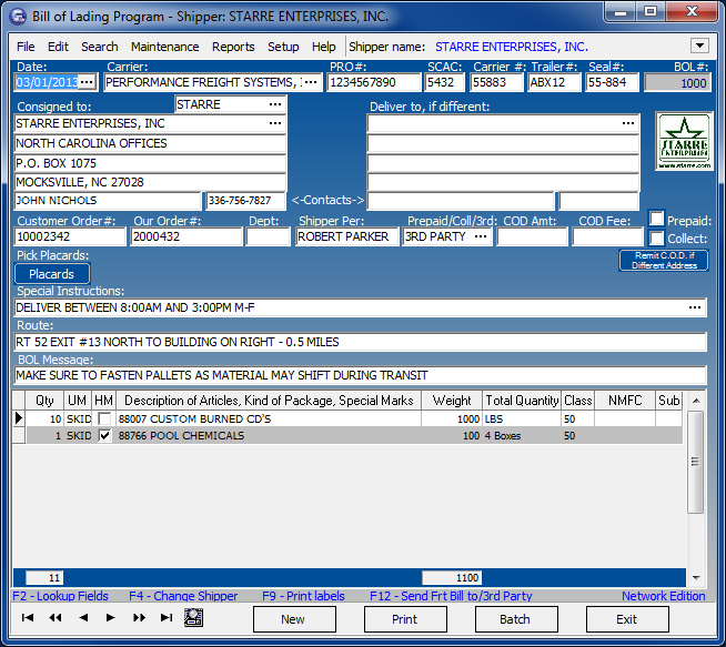 Click to view Star Bill of Lading Program 8.00 screenshot