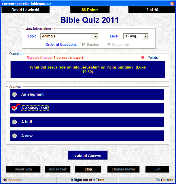 Click to view Bible Quiz 2008 Freeware 3.0 screenshot