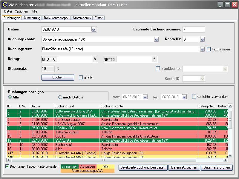 Click to view GSA Buchhalter 1.8.9 screenshot