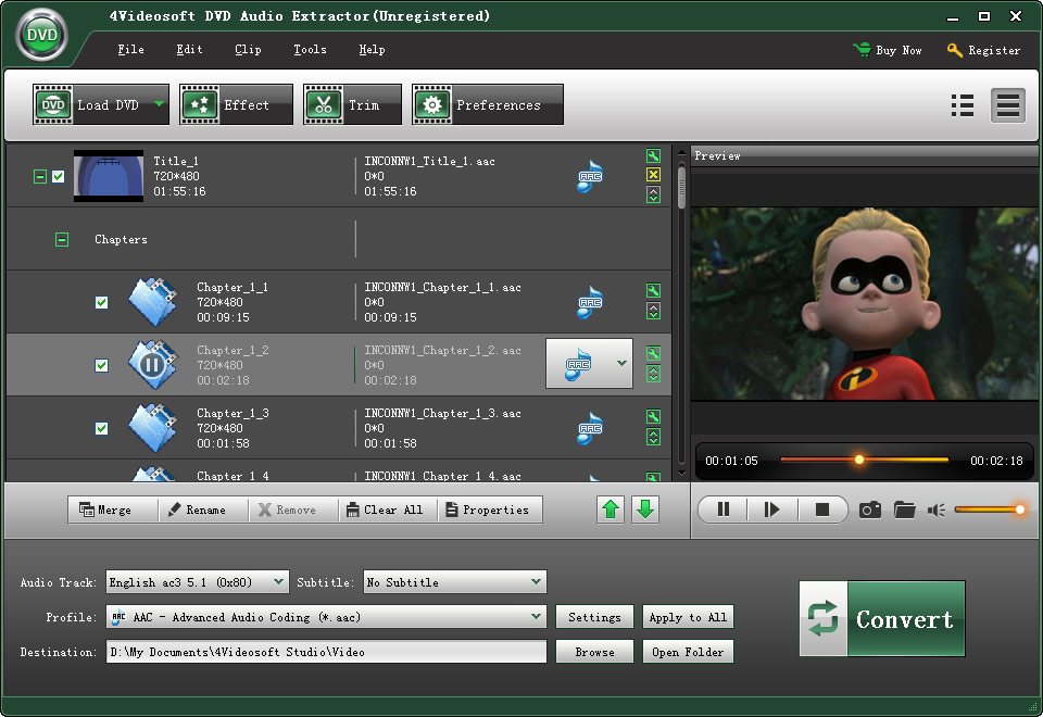 Click to view 4Videosoft DVD Audio Extractor 5.0.8 screenshot