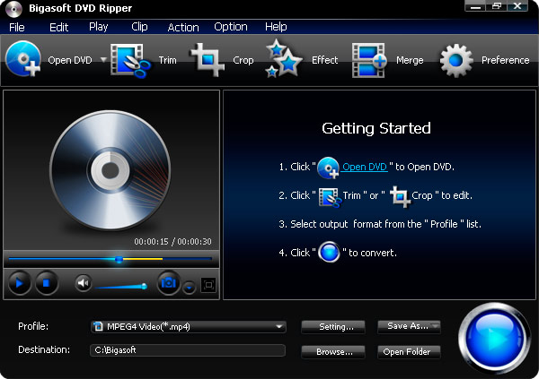Click to view Bigasoft DVD Ripper 3.1.11.4743 screenshot