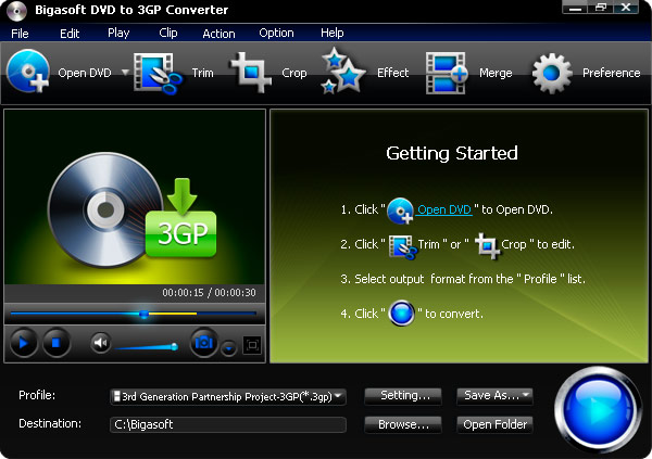 Click to view Bigasoft DVD to 3GP Converter 3.1.11.4743 screenshot