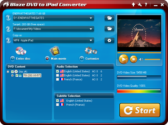 Click to view BlazeVideo DVD to iPad Converter 3.0.0.3 screenshot