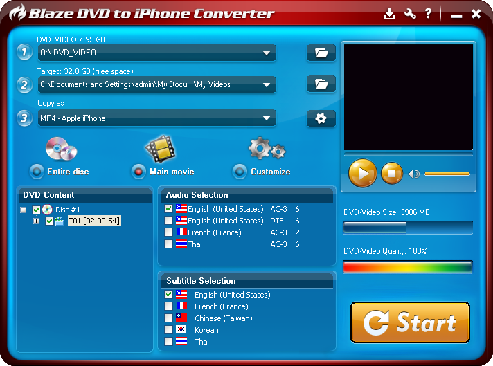 Click to view BlazeVideo DVD to iPhone Converter 3.0.0.3 screenshot