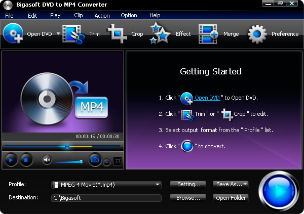Click to view Bigasoft DVD to MP4 Converter 3.1.11.4743 screenshot