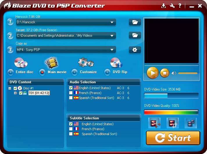 Click to view BlazeVideo DVD to PSP Converter 3.0.0.3 screenshot