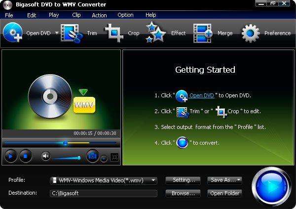 Click to view Bigasoft DVD to WMV Converter 3.1.11.4743 screenshot