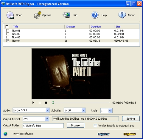 Click to view Boilsoft DVD Ripper 2.88.9 screenshot