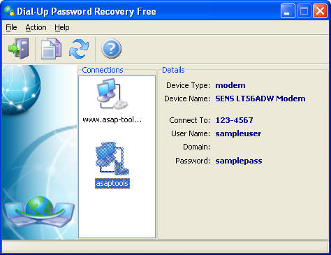 Click to view Dial-Up Password Recovery FREE 1.0.5.1 screenshot