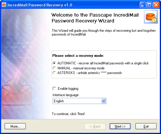 Click to view IncrediMail Password Recovery 1.5.0 screenshot