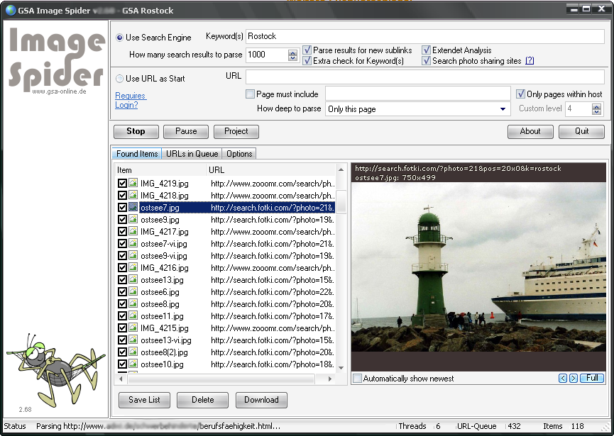 Click to view GSA Image Spider 2.85 screenshot