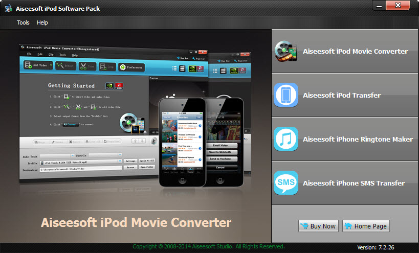 Click to view Aiseesoft iPod Software Pack 7.2.26 screenshot