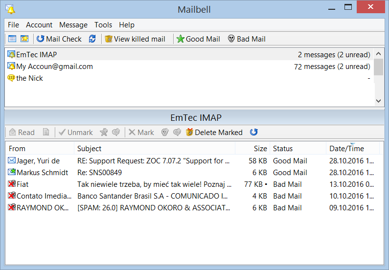 Click to view MailBell (Email Notify, Spam Blocker) 2.61 screenshot