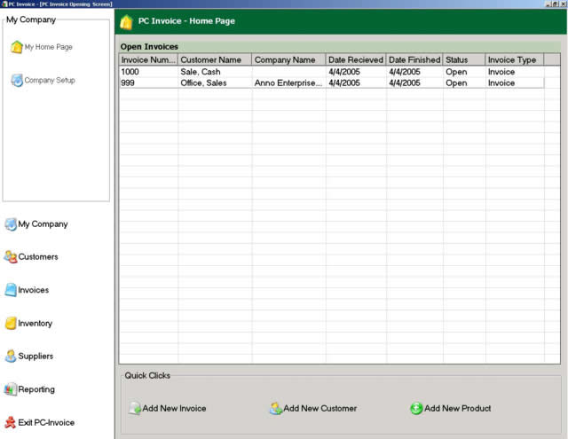 Click to view PC Invoice Service Edition 2.21 screenshot