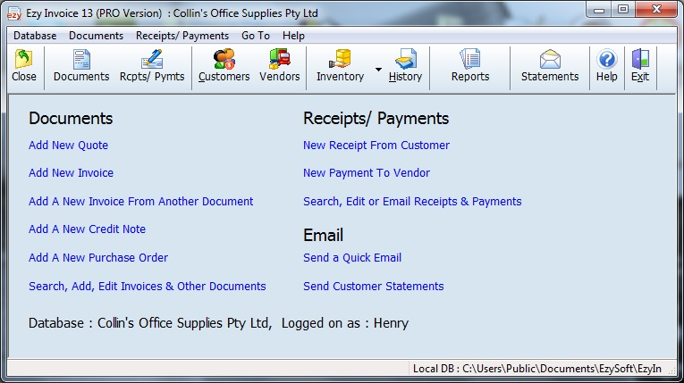 Click to view Ezy Invoice 13.0.0.12 screenshot