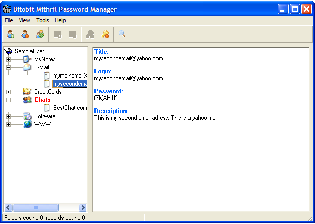 Click to view Bitobit Mithril Password Manager 1.07 screenshot