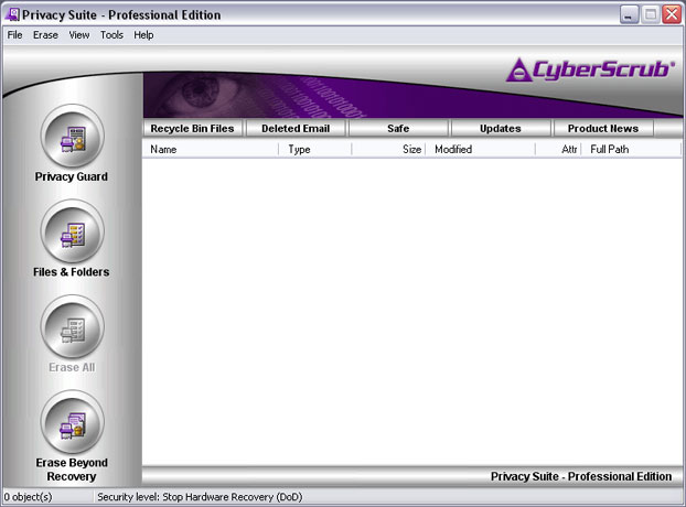 Click to view CyberScrub Privacy Suite 5.1 screenshot
