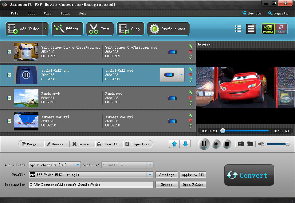 Click to view Aiseesoft PSP Movie Converter 6.2.16 screenshot