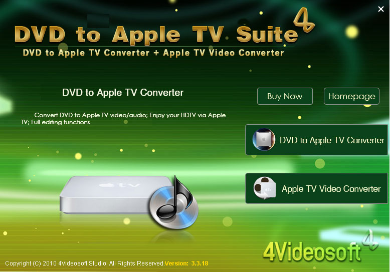 Click to view 4Videosoft DVD to Apple TV Suite 3.1.08 screenshot