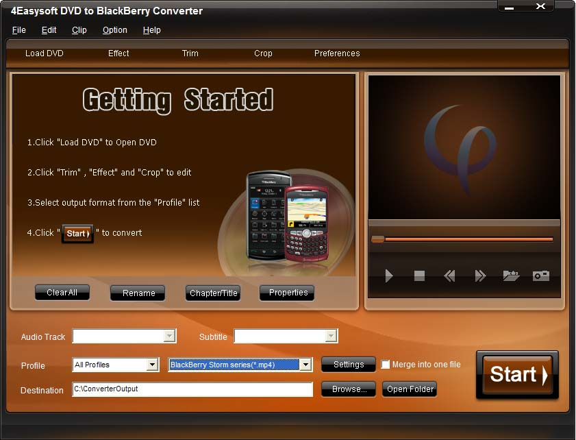 Click to view 4Videosoft DVD to BlackBerry Converter 3.3.20 screenshot