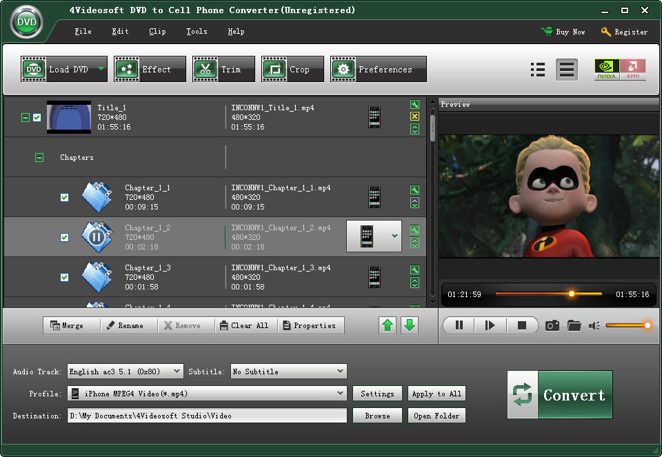 Click to view 4Videosoft DVD to Cell Phone Converter 3.1.18 screenshot