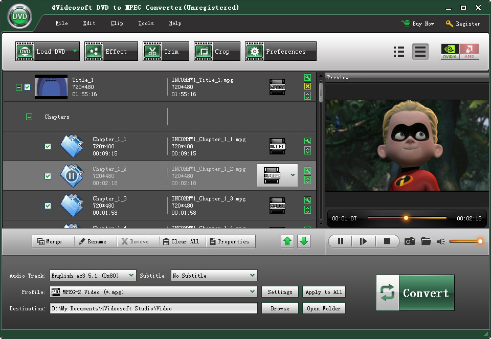 Click to view 4Videosoft DVD to MPEG Converter 3.1.10 screenshot