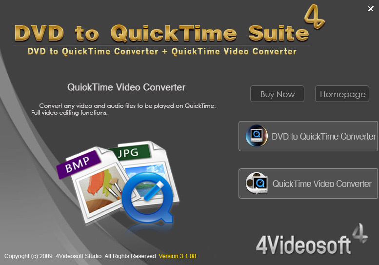 Screenshot for 4Videosoft DVD to QuickTime Suite 3.3.26