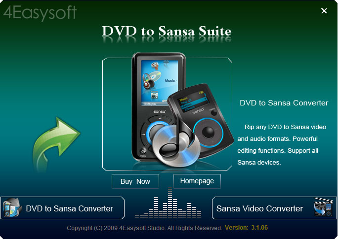 Click to view 4Easysoft DVD to Sansa Suite 3.2.30 screenshot