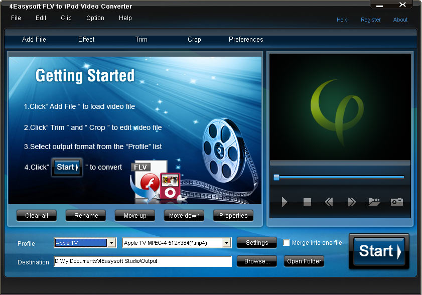 Click to view 4Easysoft FLV to iPod Video Converter 3.1.18 screenshot