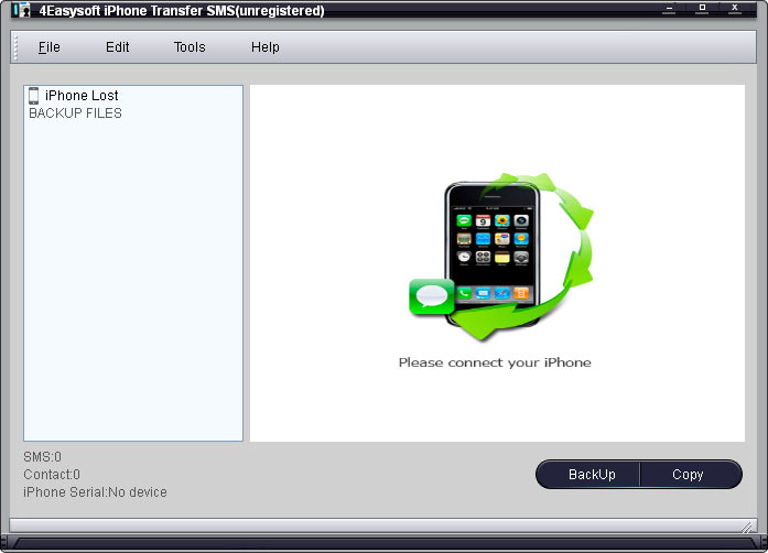 Click to view 4Easysoft iPhone Transfer SMS 1.3.32 screenshot
