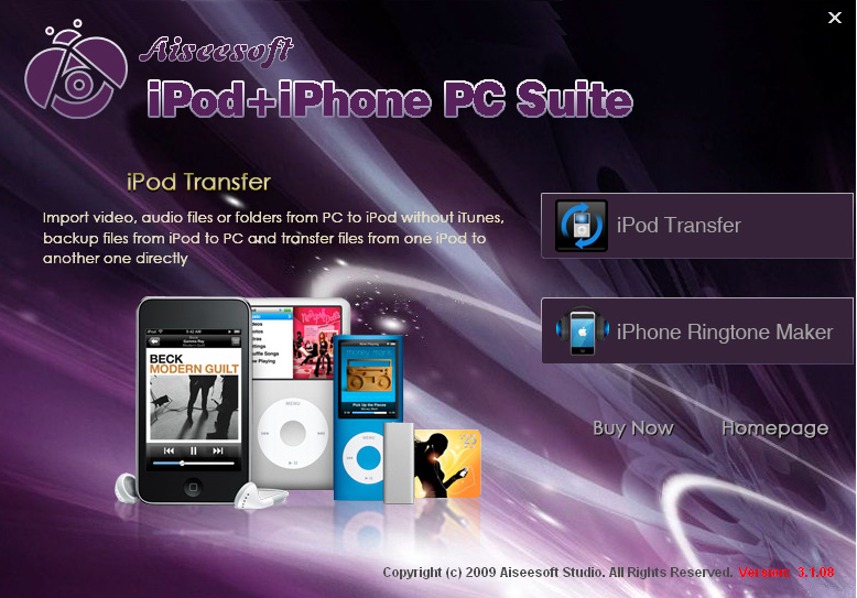 Click to view Aiseesoft iPod + iPhone PC Suite 5.1.10 screenshot