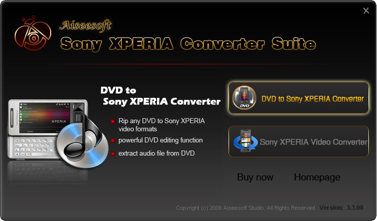 Click to view Aiseesoft Sony XPERIA Converter Suite 5.0.06 screenshot