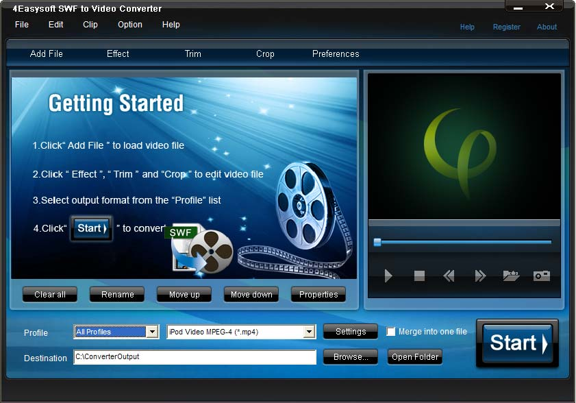 Click to view 4Easysoft SWF to Video Converter 3.1.22 screenshot