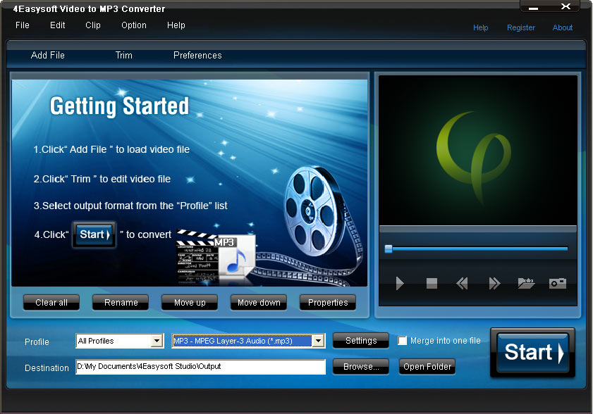 Click to view 4Videosoft Video to MP3 Converter 3.1.08 screenshot