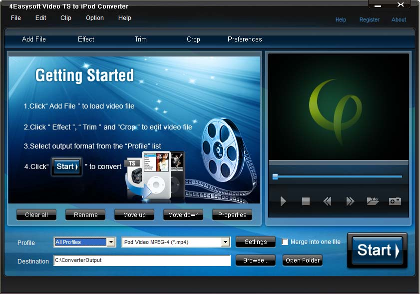Click to view 4Easysoft Video TS to iPod Converter 3.1.16 screenshot