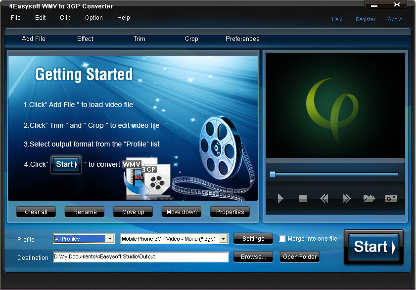 Click to view 4Easysoft WMV to 3GP Converter 3.1.16 screenshot