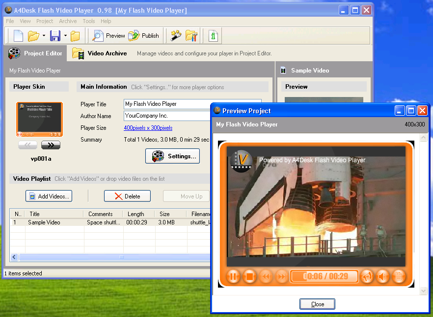 Click to view A4Desk Flash Video Player 4.00 screenshot