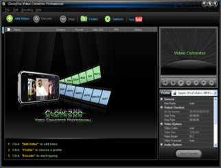 Click to view Clone2Go Video Converter Professional 2.8.2 screenshot