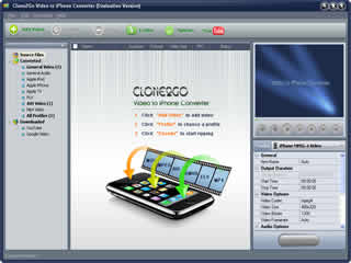 Click to view Clone2Go Video to iPhone Converter 2.5.0 screenshot