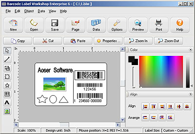 Click to view Barcode Label Workshop Standard Edition 6.0 screenshot