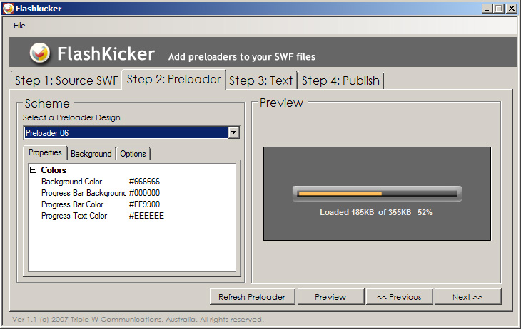 Click to view FlashKicker Flash Preloader Software 2.4 screenshot
