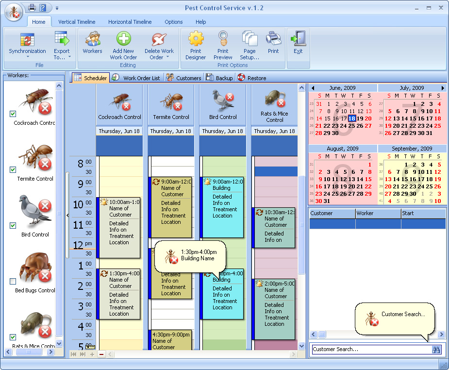 Click to view Pest Control Service 2.9 screenshot