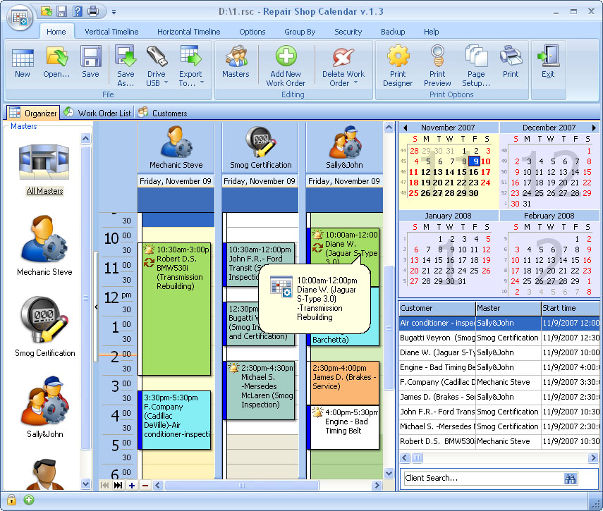 Click to view Repair Shop Calendar for Workgroup 4.1 screenshot