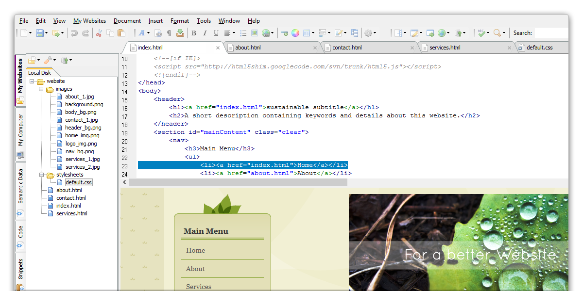 Screenshot for CoffeeCup Free HTML Editor 10.1