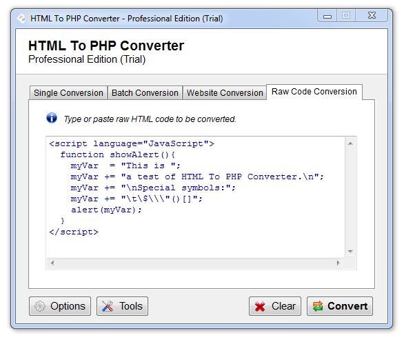 Click to view HTML To PHP Converter 6.1.0.17 screenshot