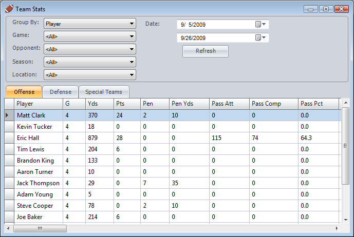 Click to view Football Stat Manager 2.1.0 screenshot